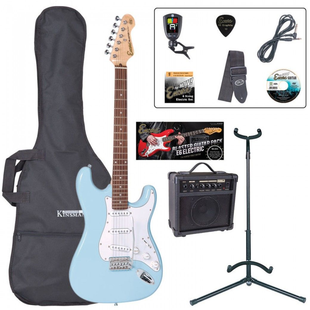 Encore E6 Electric Guitar Pack - Laguna Blau